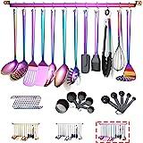 Rainbow Cooking Utensils Set, Kyraton Stainless Steel 37 Pieces Kitchen Utensils Set with Titanium Colorful Plating, Kitchen