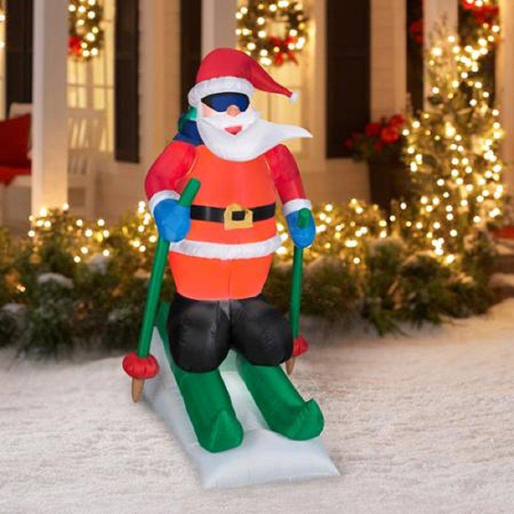 Christmas Decor Airblown Inflatable 6.5' Santa Skiing