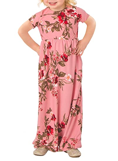 476745c5e20 STKAT Girl s Casual Short Sleeve Floral Print Empire Waist Long Maxi Dress  with Pockets at Amazon Women s Clothing store