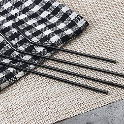 Reusable Stainless Steel Straws Set of 8 Black Metal Straight Bent Drinking Straws with Cleaning Brush for Cups Mugs Tumblers Ramblers by BERTERI (Image #3)