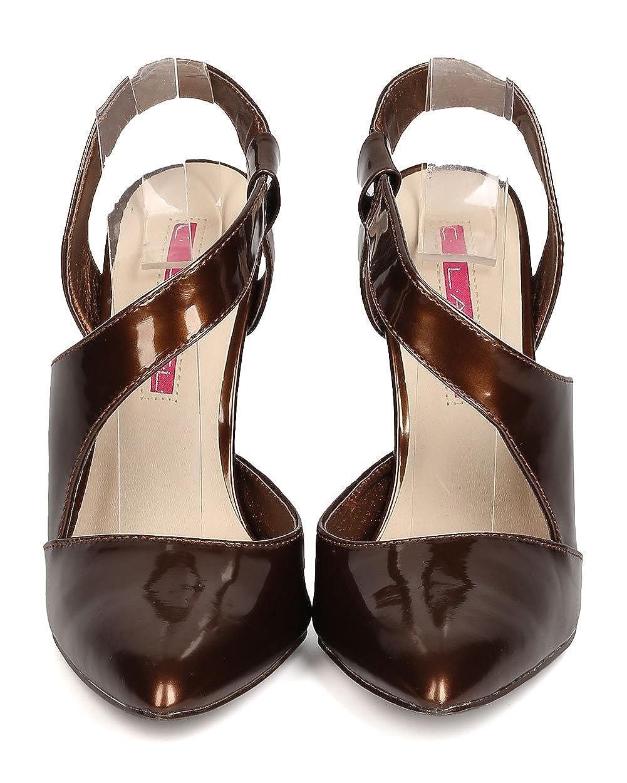 Bronze C LABEL Women Patent Leatherette Pointy Toe Wraparound Stiletto Pump FF81