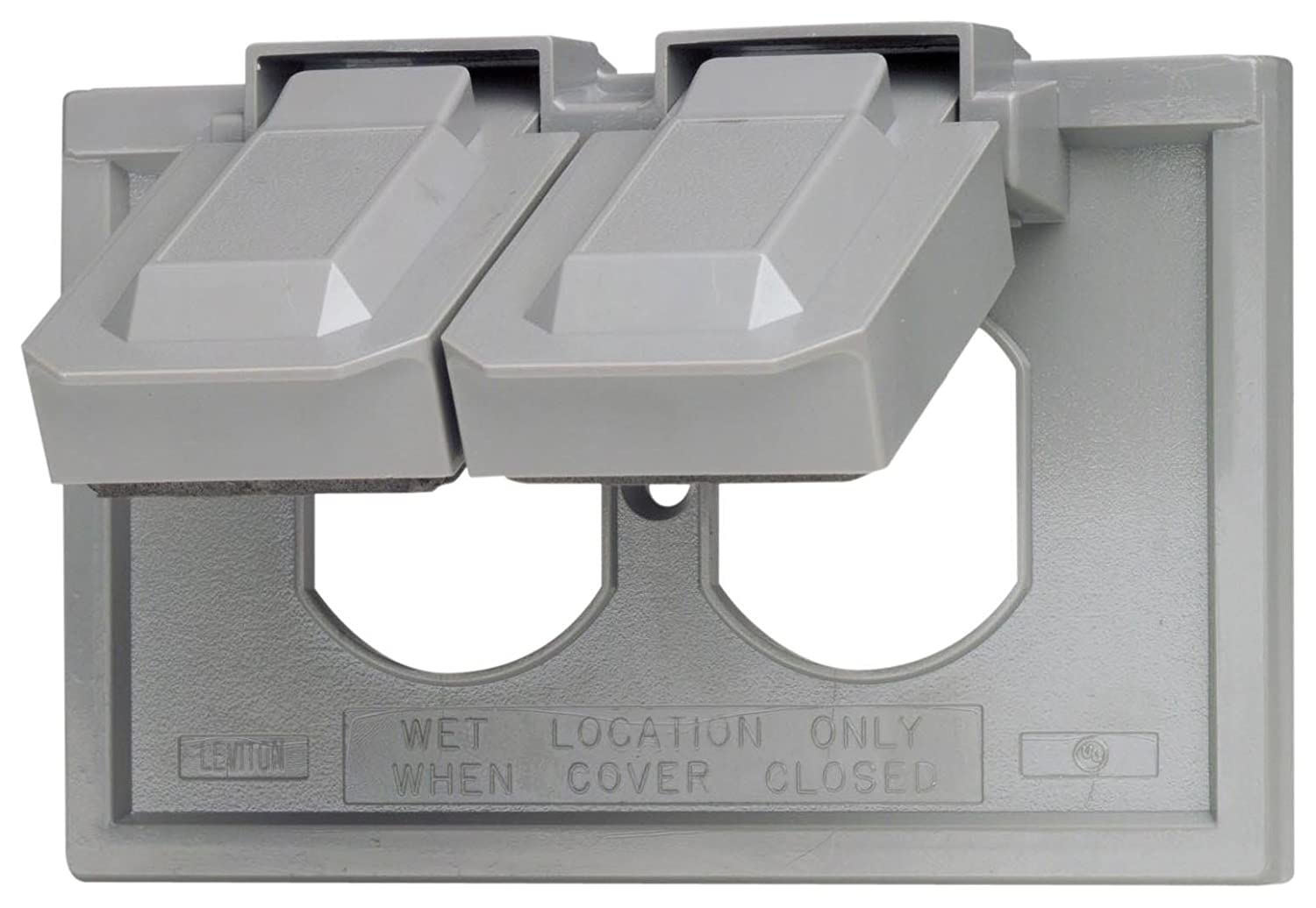 Leviton 4976-GY 1-Gang Duplex Device Wallplate Cover, Weather ...