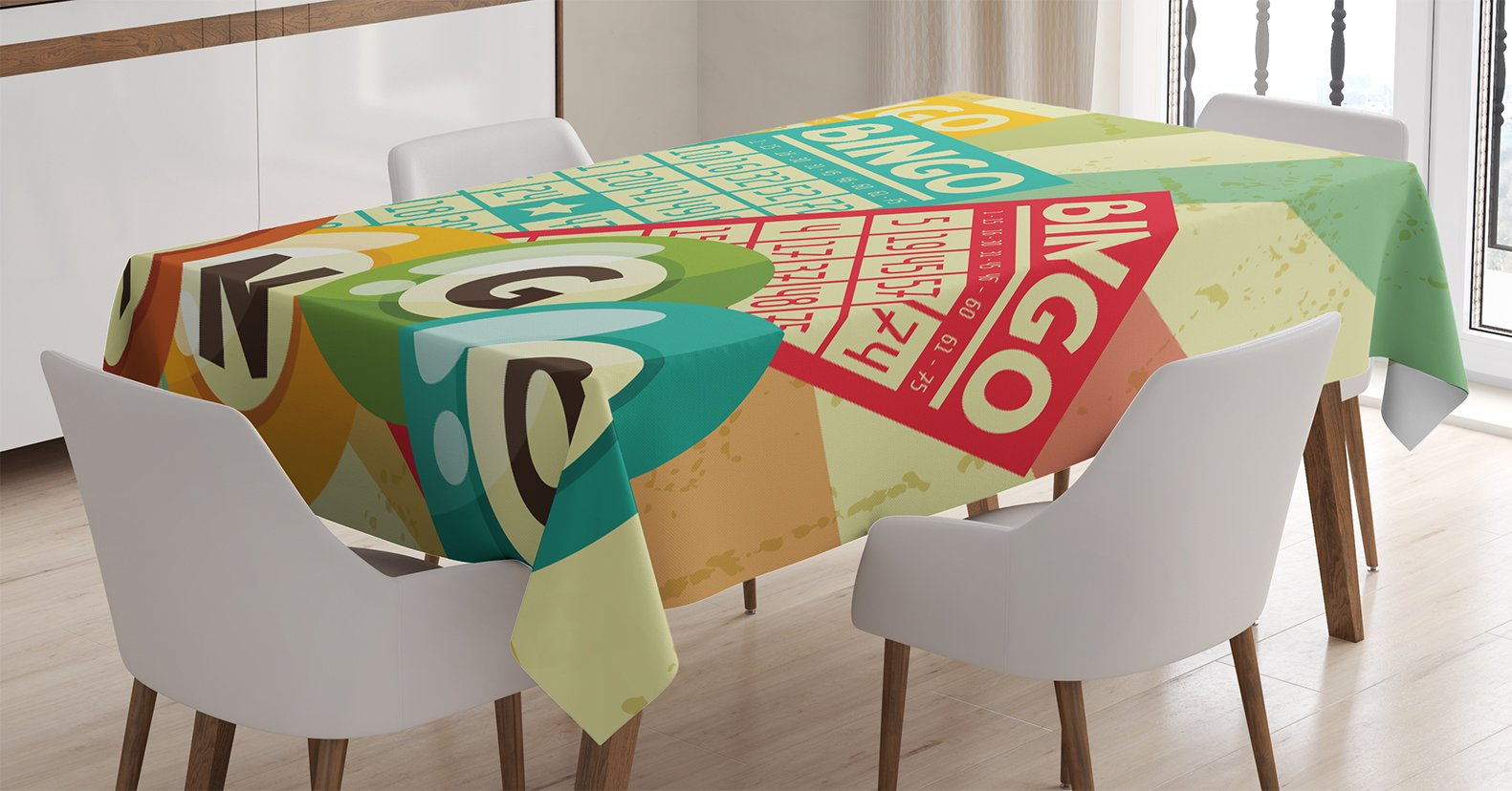 Ambesonne Vintage Decor Tablecloth, Bingo Game with Ball and Cards Pop Art Stylized Lottery Hobby Celebration Theme, Dining Room Kitchen Rectangular Table Cover, 52 X 70 inches, Multi by Ambesonne