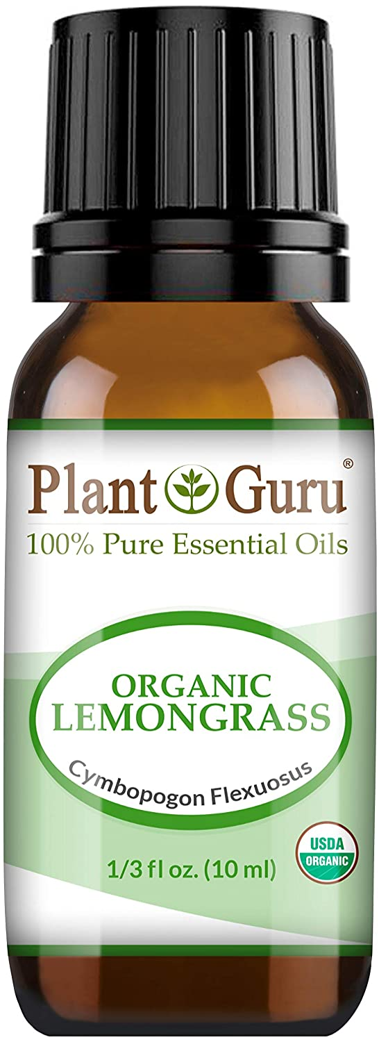 Organic Lemongrass Essential Oil 10 ml 100% Pure Undiluted USDA Certified Therapeutic Grade for Aromatherapy Diffuser, Natural Healthy Skin, Body and Hair Growth