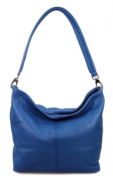 571a3c6454630 Mio italienische Handtasche Ledertasche Damentasche Schultertasche echt  Leder royalblau blau