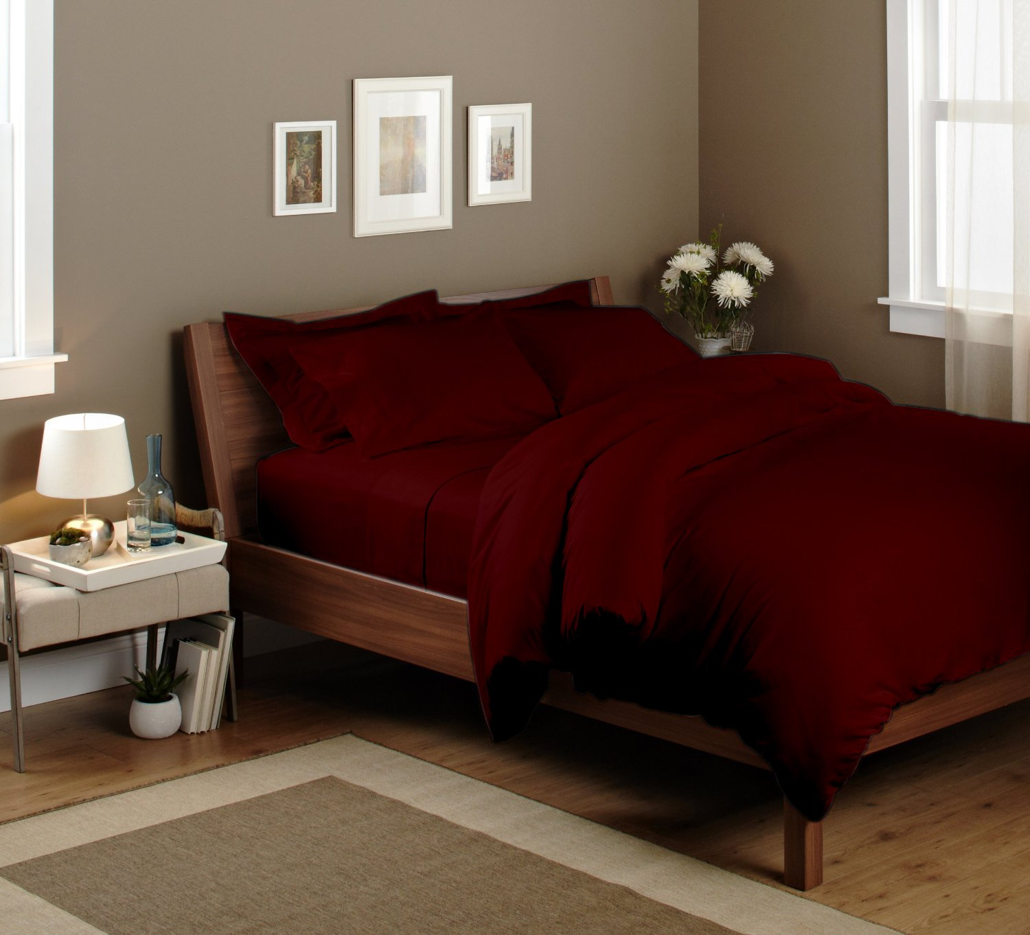 600 thread count extra luxury Ultra-soft Rainbow Circo long stapled Egyptian cotton 15 inch sheet set a feel that you will never fagot italian finish bedding collection made in India King Burgundy