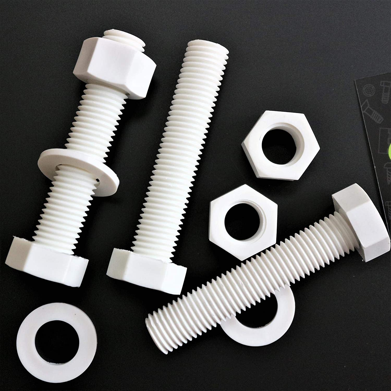 Chemical-Resistant Socket Head Screw Thread Size 1//4-20 Polypropylene