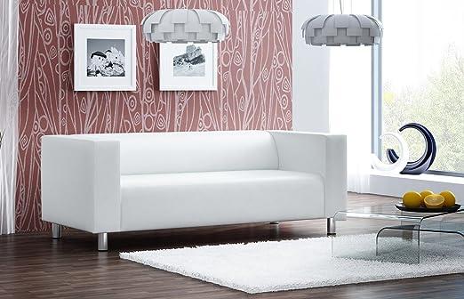 Sofa Couch 3 Sitzer Polstersofa Kunstleder Kunstledersofa Weiss