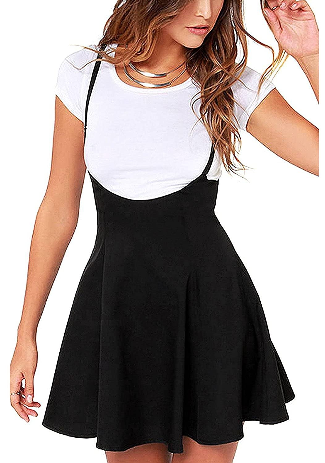 ANDUUNI Women's Strap Pleated A Line Dress Basic Suspender High Waisted Skirt