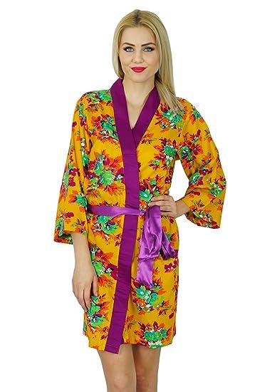 049b6db55f Bimba Women Short Cotton Robe Floral Printed Getting Ready Bridesmaid Robes
