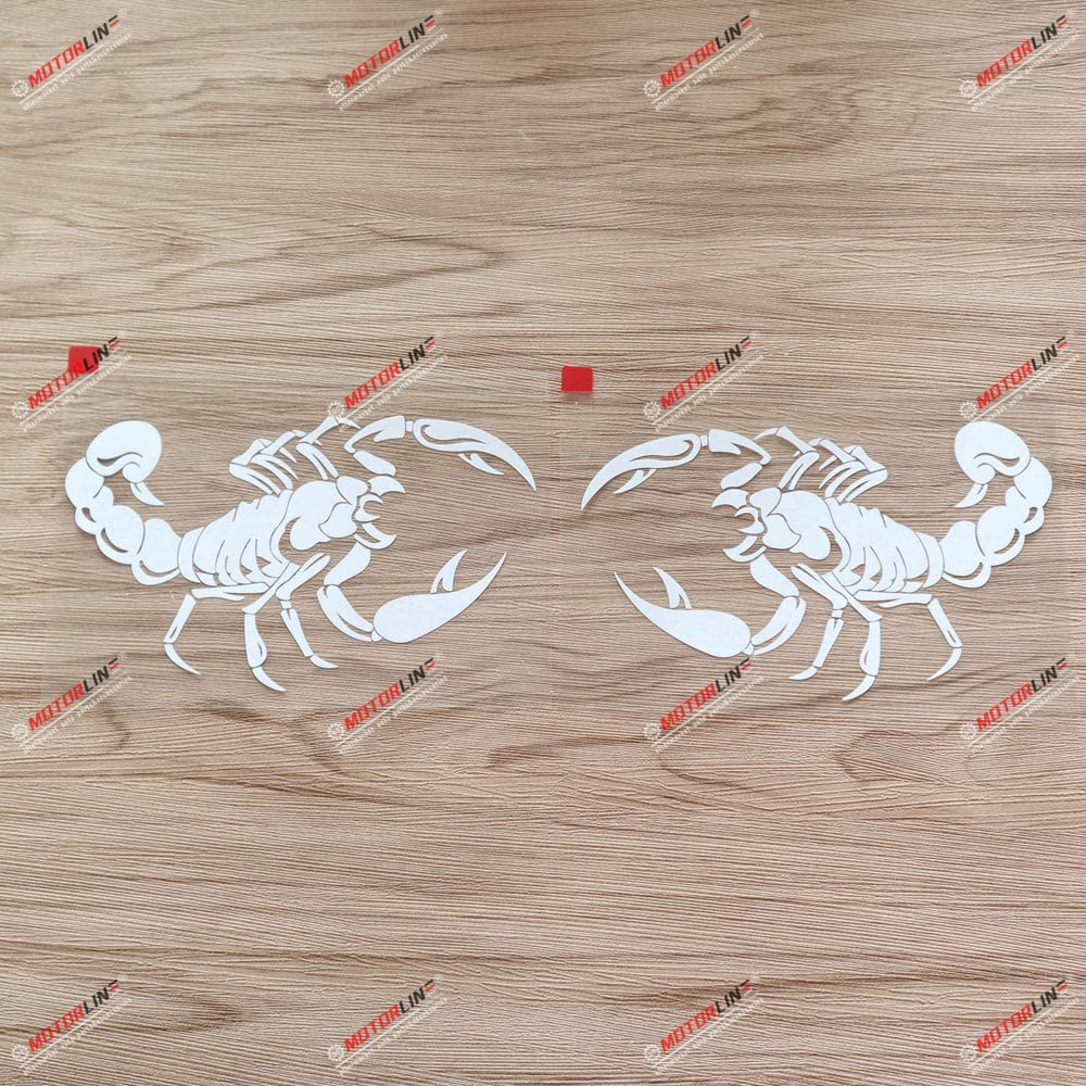 3S MOTORLINE Pair Mirror Images 6 White Scorpion Decal Bumper Sticker Car Vinyl