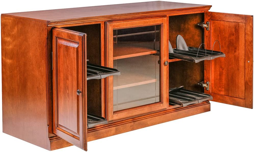 Forest Designs Traditional Alder TV Stand with Media Storage and V-Groove Glass, 67 W x 30 H x 21 D, Whitewash Oak