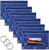 WODISON 3-Ring Pen Pencil Pouch with Clear Window Stationery Bag Binder Case Classroom Organizers 6-Pack (Blue)
