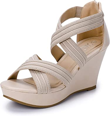 SANDALUP Back Zipper Sandals Wedges