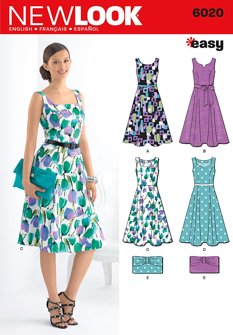 New Look A 8-10-12-14-16-18 Sewing Pattern 6020 Misses Dresses and ...