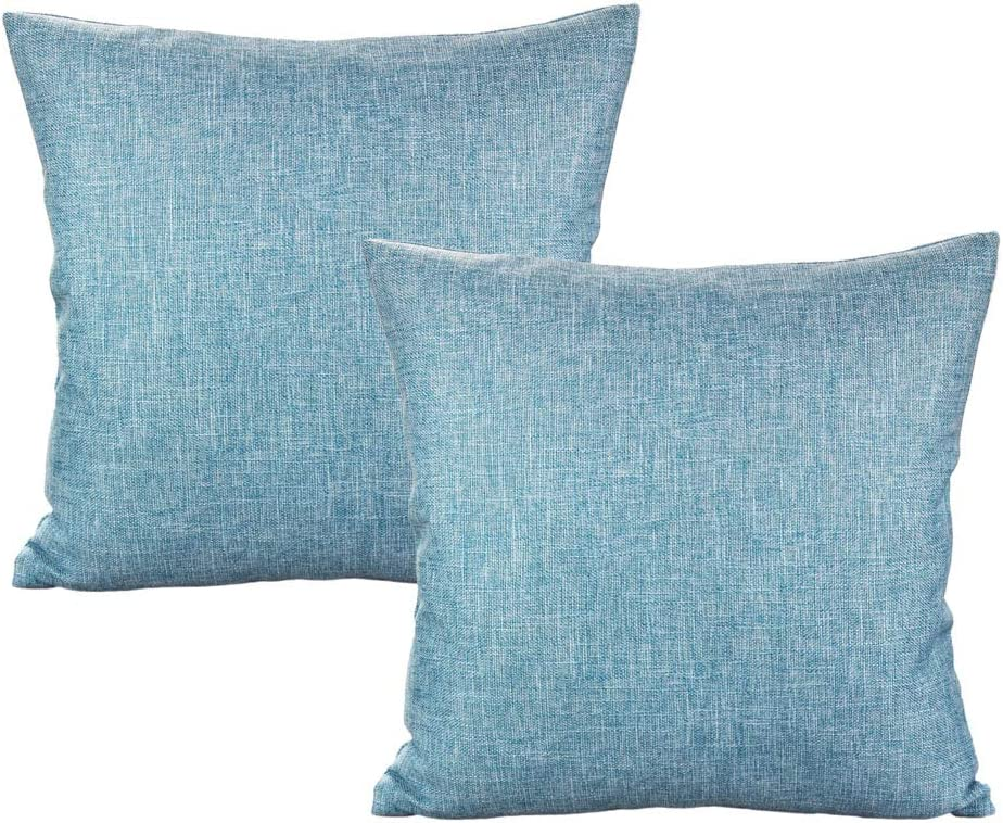All Smiles Pack of 2 Decorative Linen Burlap Pillow Cover Square Solid Throw Cushion Case for Sofa Car Couch 18x18 Inch Light Blue