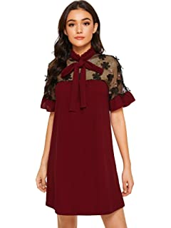 b67289f8ab95 DIDK Women's Tunic Dress with Embroidered Floral Mesh Bishop Sleeve ...
