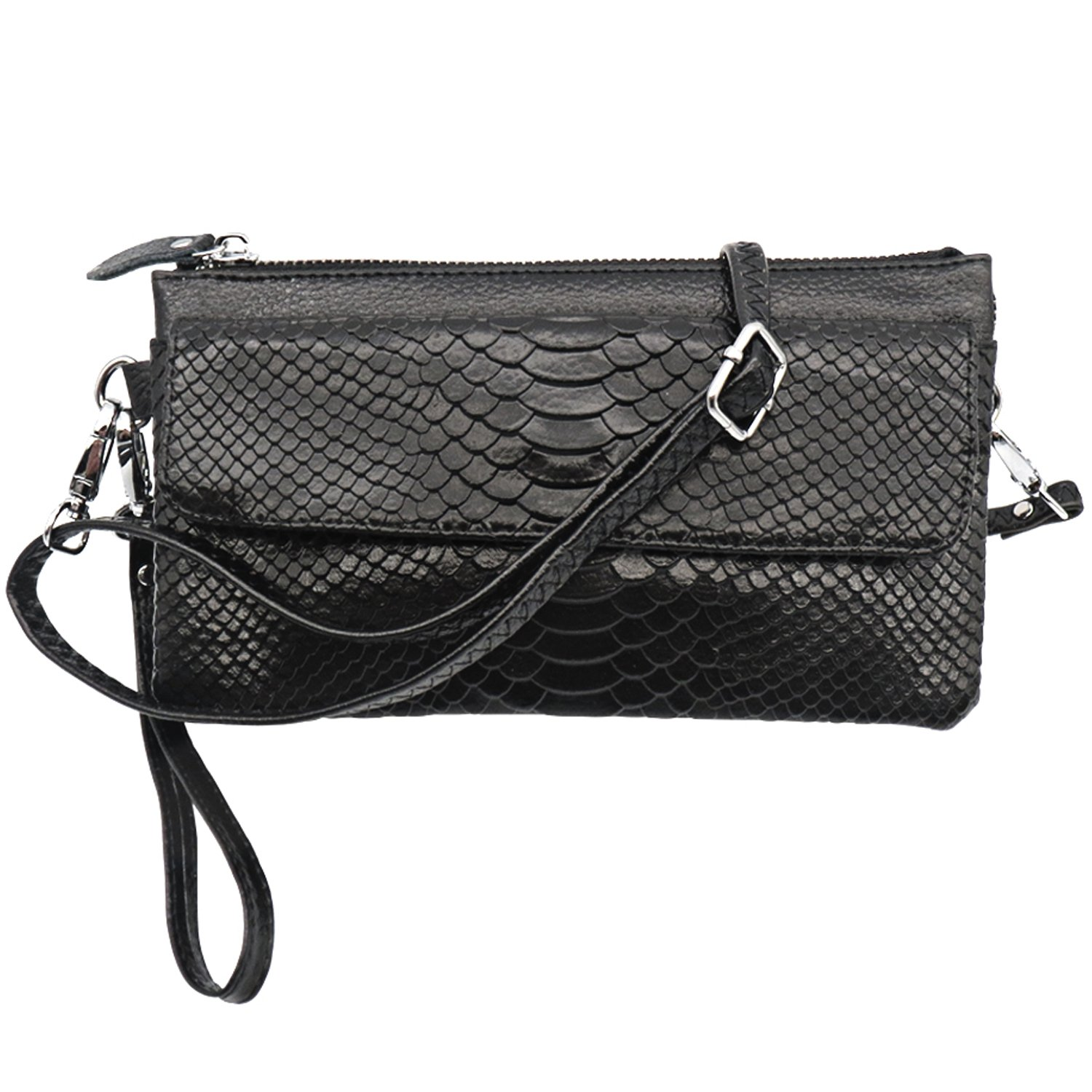 Shalwinn Crossbody Purse Cell Phone Purse Genuine Leather Crossbody Purse Cell Phone Purse Crossbody Handbag Purse for Women Girls with Adjustable Long Shoulder Strap and Wrist Strap (886#Black)