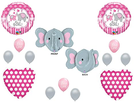 Amazon Com New It S A Girl Elephant Baby Shower Balloons