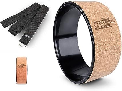 NILLYGYM Cork Yoga Wheel with Yoga Strap Included
