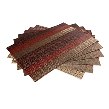 SICOHOME Placemats Set of 6,Soft Crossweave Woven Vinyl Placemat,Multi Colored(Red)