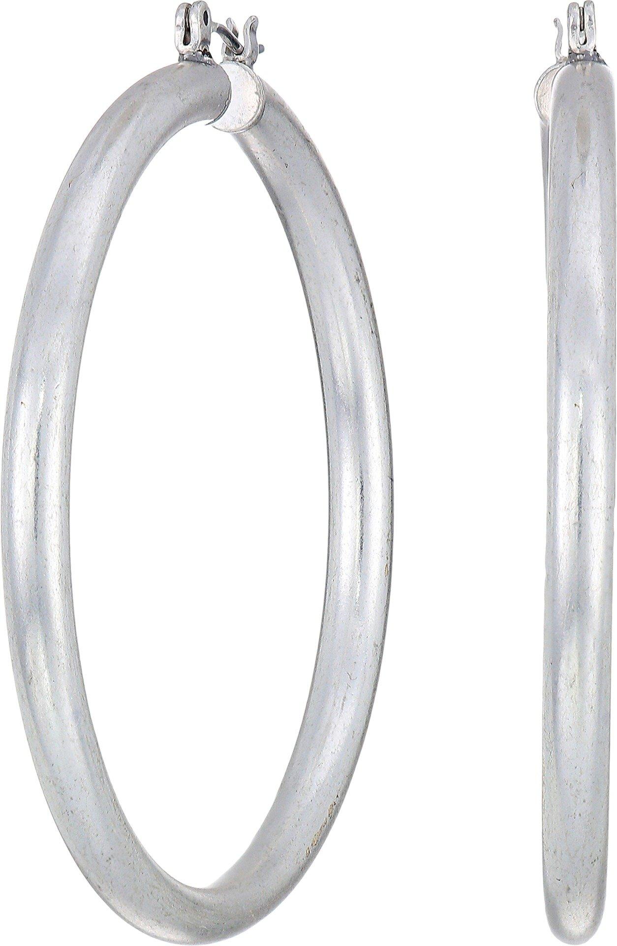 Lucky Brand Women's Large Hoop Earrings, Silver, One Size