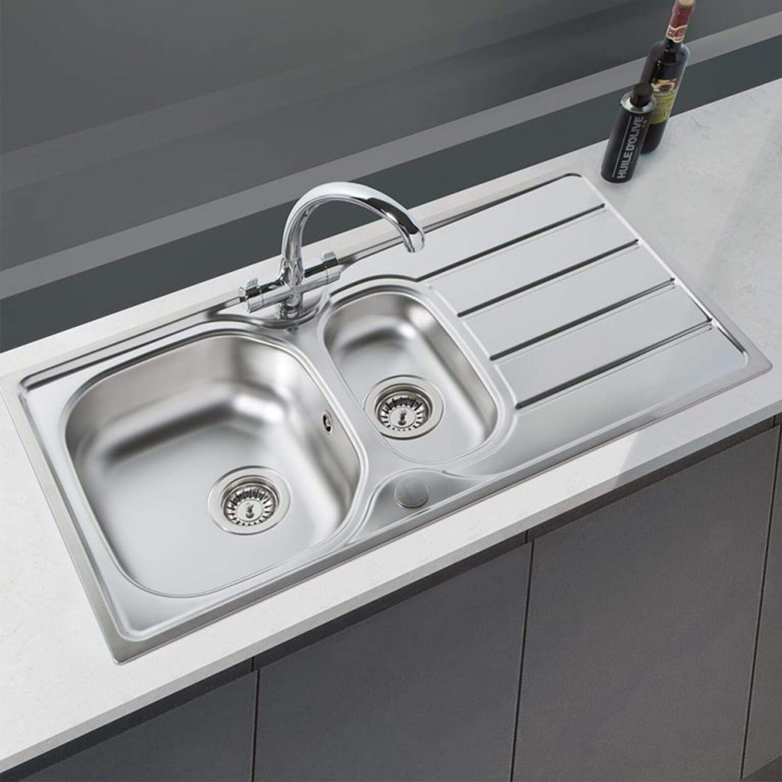 Sia 1 5 Bowl Reversible Stainless Steel Kitchen Sink And Waste Kit W965 X D500mm Buy Online In Antigua And Barbuda At Desertcart Productid 149993938