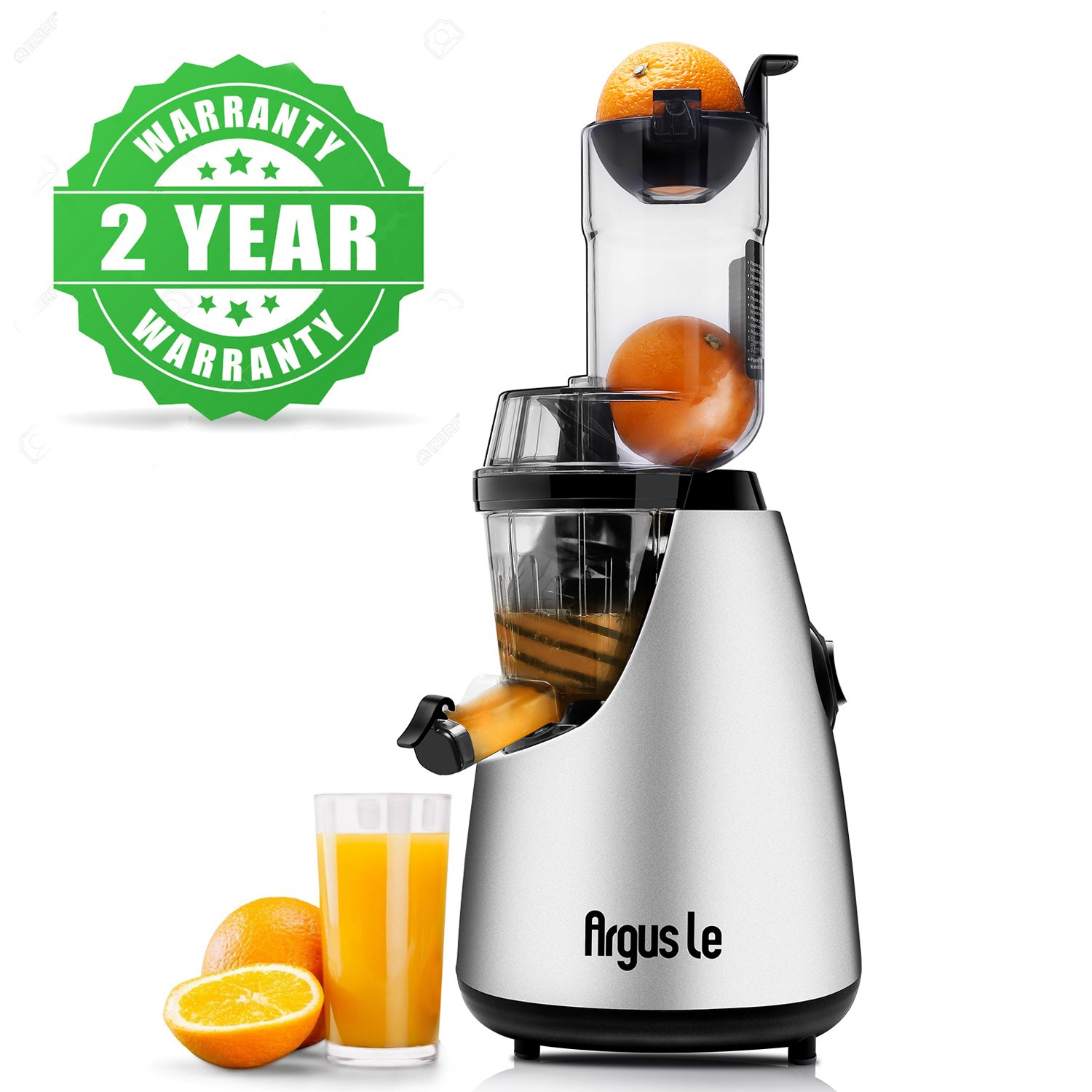 Argus Le Masticating Juicer, Whole Slow Juicer, 3''inches(75MM) Wide Feed Chute, Easy Cleaning Auger, Energy Saving 150W DC Motor, Fruit and Vegetable Juice Extractor with Two Filters and Recipe Book