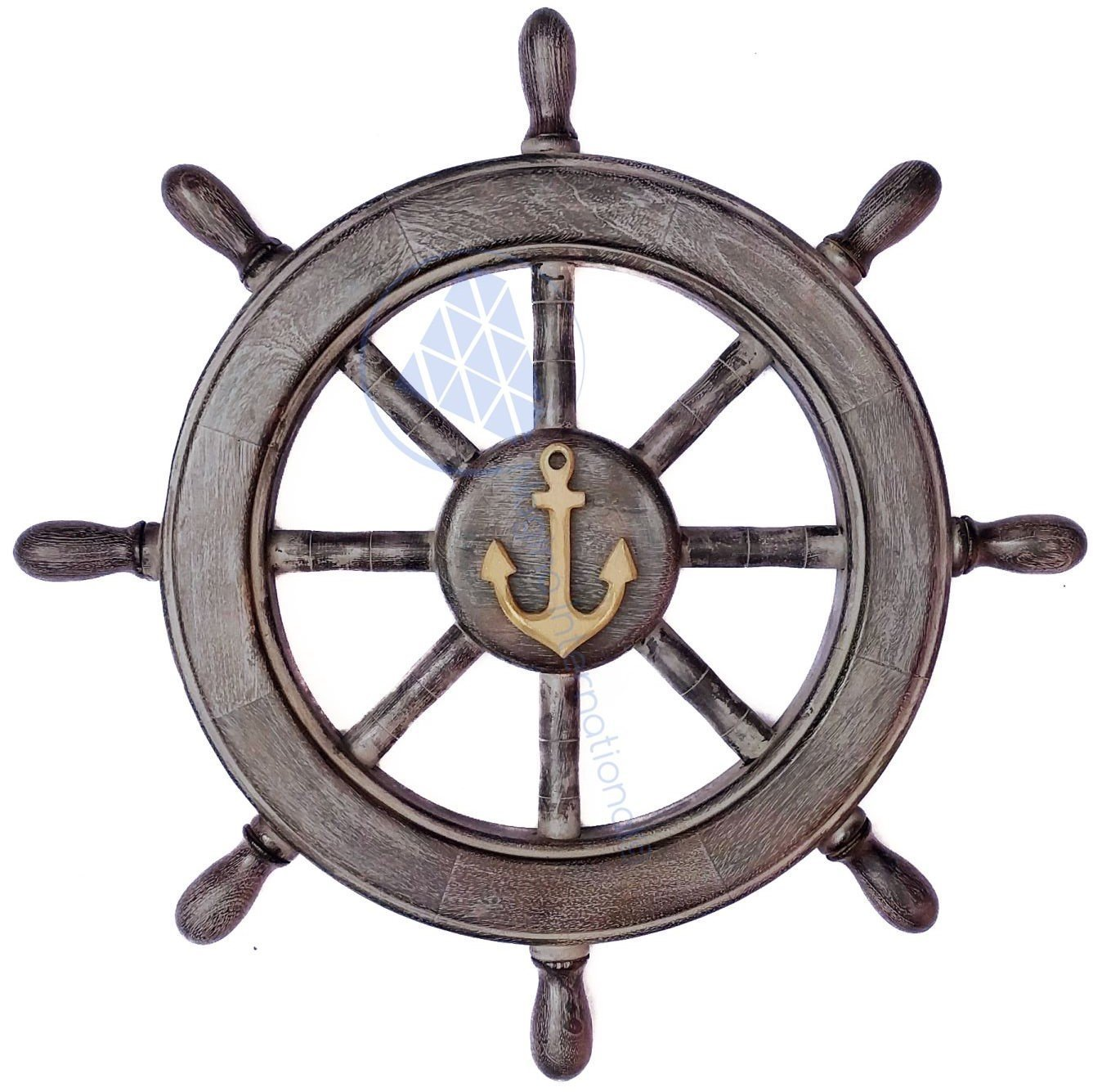Frosty Antique Junkyard Crafted Wooden Ship Wheel | Anchor Motiff | Pirate's Home Wall Decor | Nagina International (48 Inches)