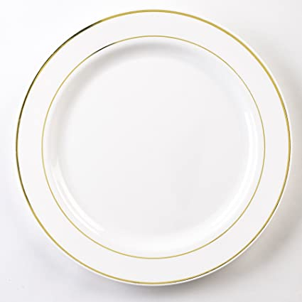 EMI Yoshi Koyal Glimmerware Dinner Plates 10.25-Inch White and Gold Set  sc 1 st  Amazon.com : gold plastic dinner plates - pezcame.com