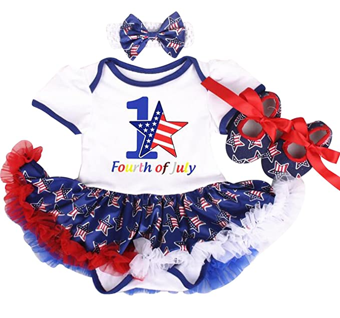 2bc0295caa57 Amazon.com  Baby Girls 4th of July American Flag Romper Dress Shoes ...