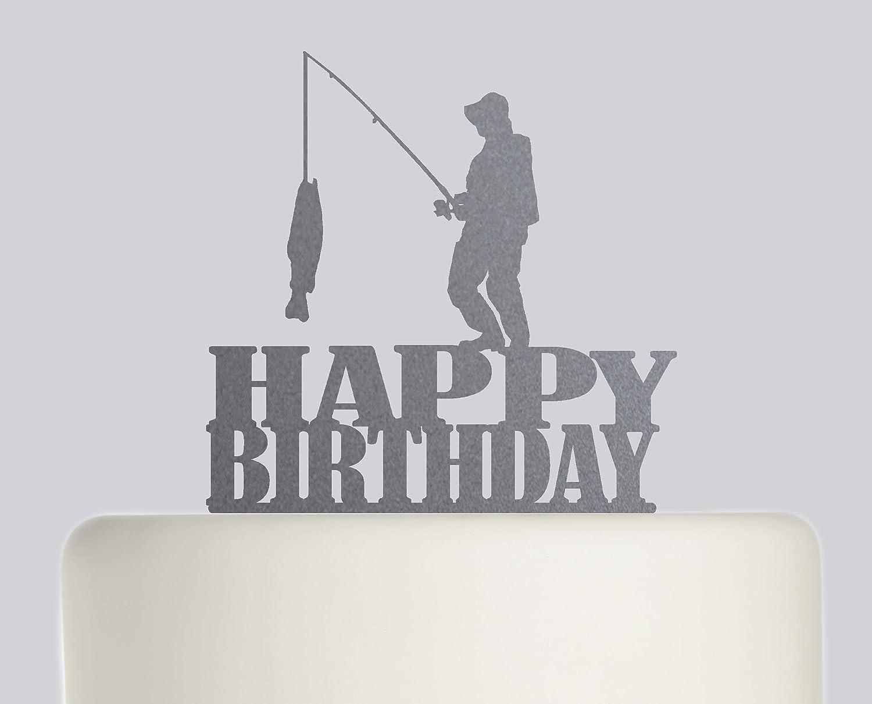 Incredible Fishing Fisherman Happy Birthday Cake Topper Acrylic Cake Topper Funny Birthday Cards Online Eattedamsfinfo