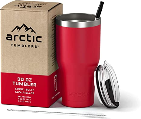 Arctic Tumblers Stainless Steel Camping Travel Tumbler With Splash Proof Lid And Straw Double Wall Vacuum Insulated Premium Insulated Thermos Matte Red Powder Coat 30 Oz Tumblers