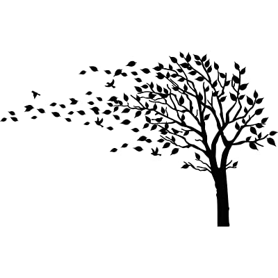Large Tree Blowing in The Wind Tree Wall Decals Wall Sticker Vinyl Art Kids Rooms Teen Girls Boys Wallpaper Murals Sticker Wall Stickers Nursery Decor Nursery Decals (Black,Left): Home & Kitchen