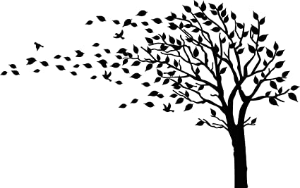 Amazoncom Large Tree Blowing In The Wind Tree Wall Decals Wall