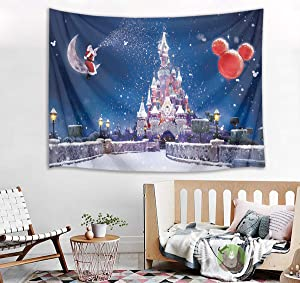 HVEST Castle Tapestry Santa Claus on Moon with Snowflake Wall Hanging Winter Scenery Tapestries for Bedroom,Living Room,Dorm Party Wall Decor,92.5Wx70.9H inches