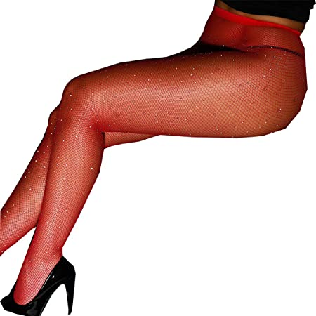 bbe30d4b8 Egurs Women s Fishnet Bodystockings Sheer Sparkle Glitter Rhinestone  Pantyhose Tights Stockings red  Amazon.co.uk  Kitchen   Home