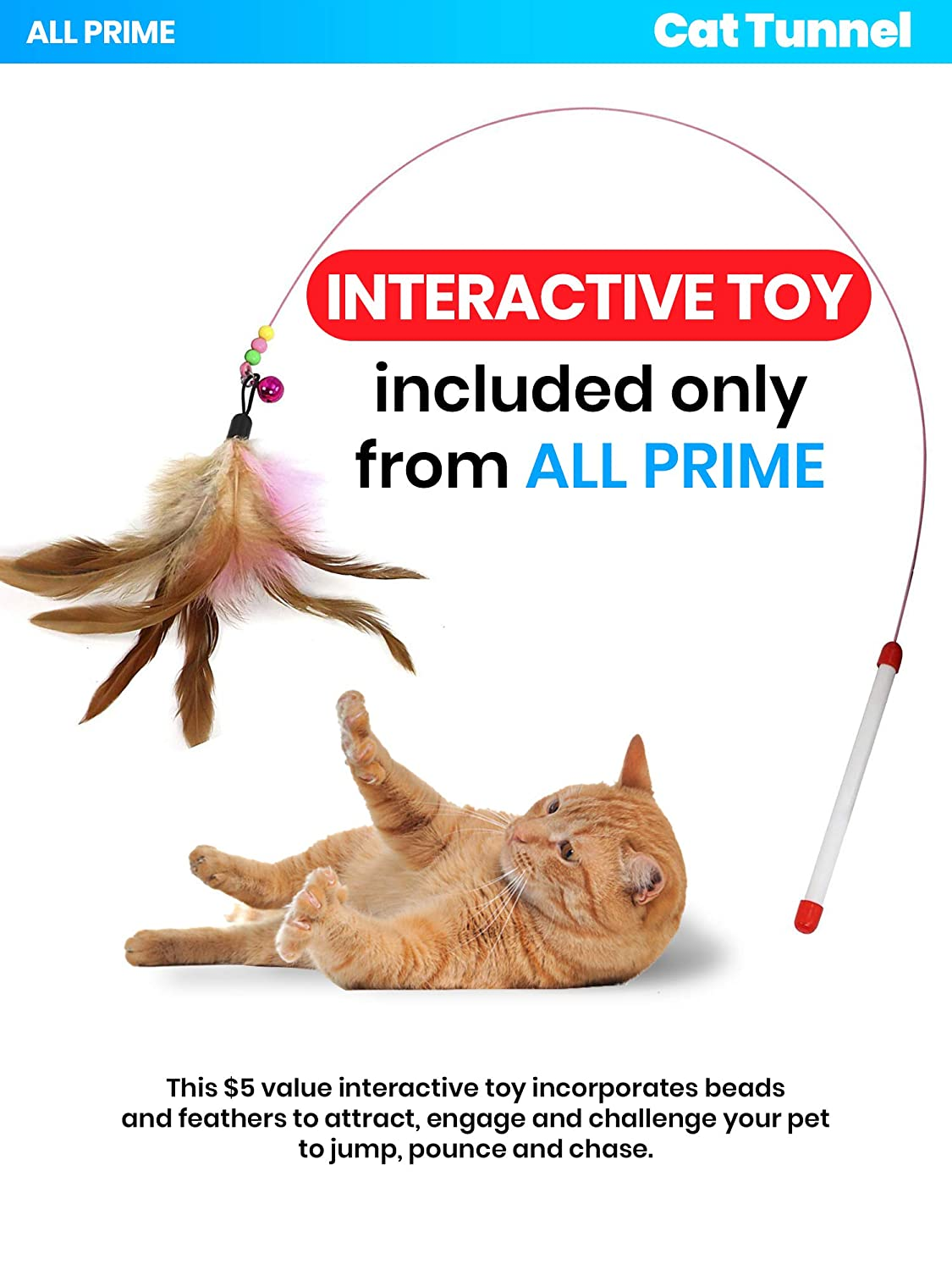 Cat Tunnels for Indoor Cats Also Included is a Free Interactive Cat Toy Cat Tube Great Toy for Cats /& Rabbits All Prime Cat Tunnel Collapsible 3 Way Pet Tunnel Toys for Cats