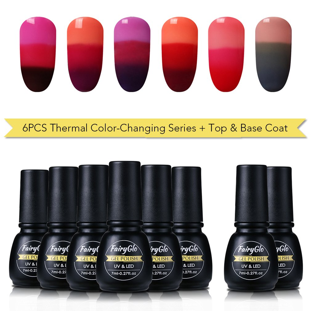 Amazon.com : FairyGlo NEW 6 pcs Thermal Colour Changing Gel Nail ...