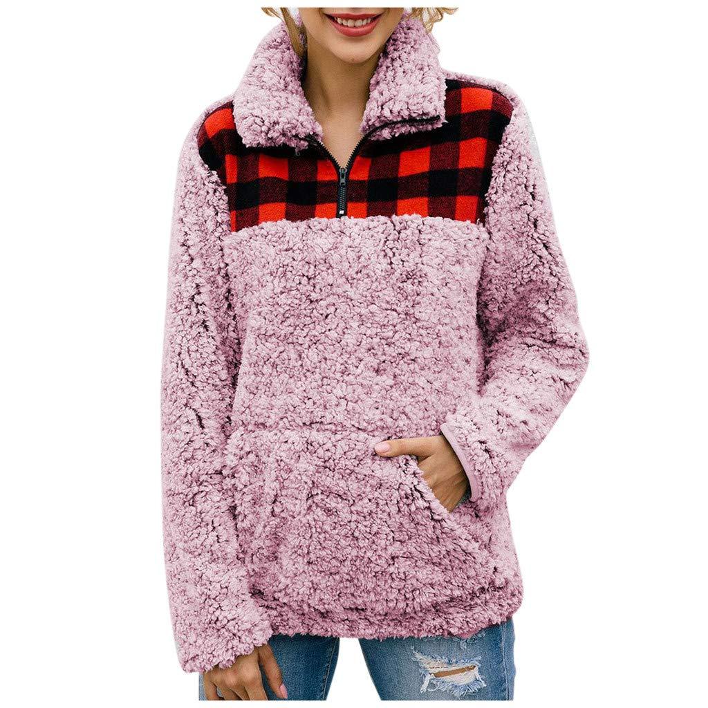 Women Plaid Patchwork Long Sleeve Fleece Fuzzy Faux Shearling Zipper Sweatshirt Pullover Tops Blouse by HNTDG by HNTDG