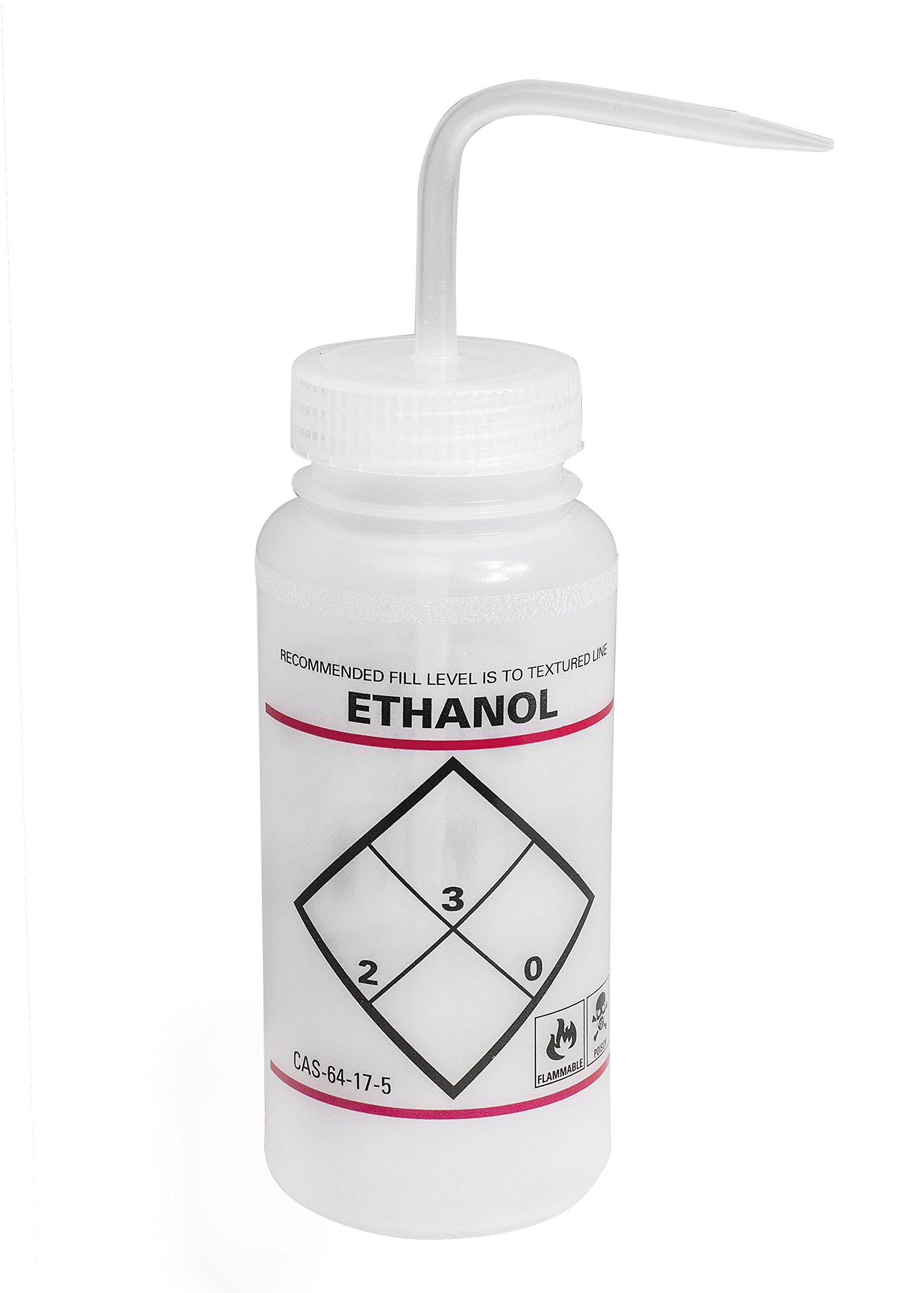 Bel-Art F11646-0639 Safety-Labeled 2-Color Ethanol Wide-Mouth Wash Bottles; 500ml (16oz), Polyethylene w/Natural Polypropylene Cap (Pack of 6)
