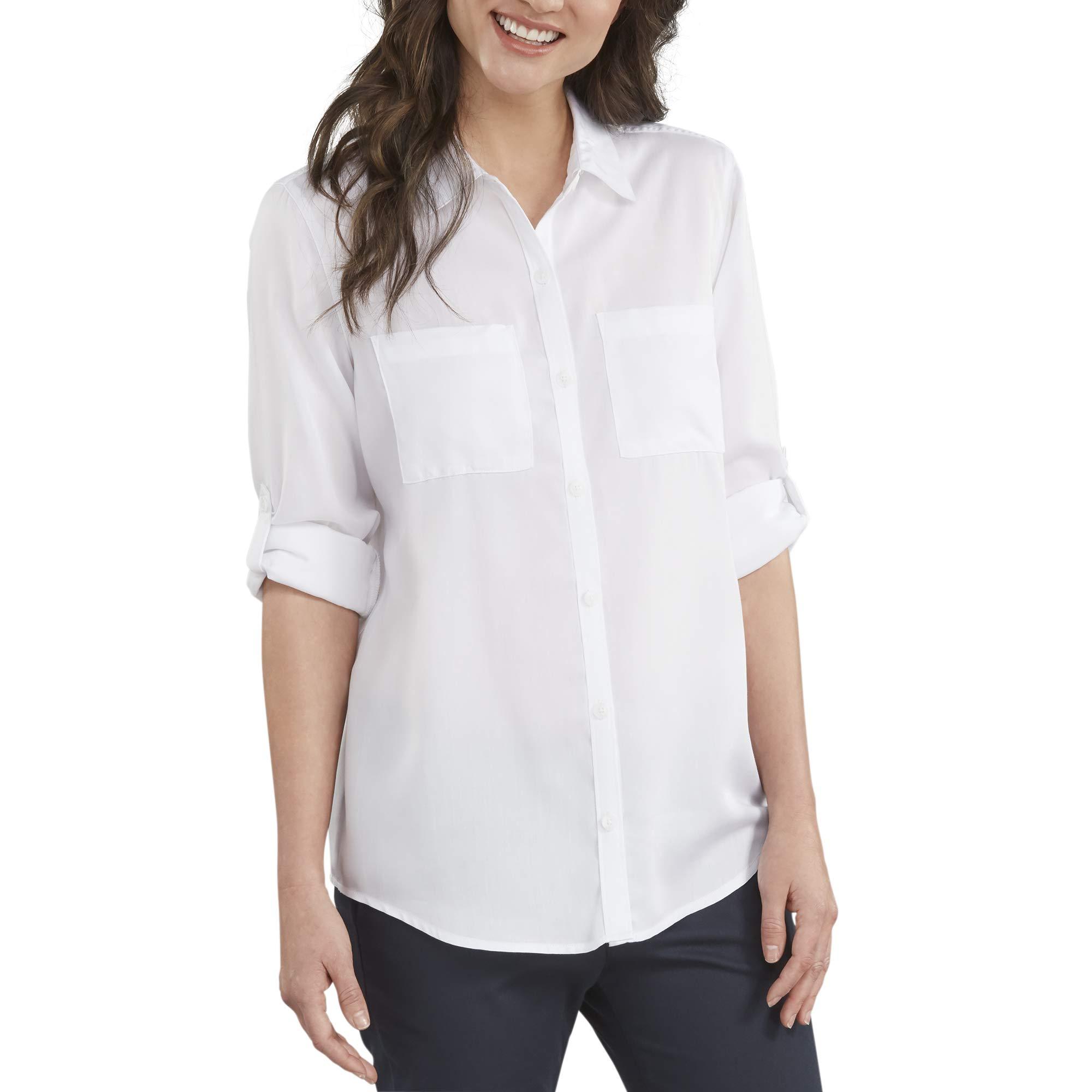 Dickies Women's Long Sleeve Lyocell Button Up Shirt