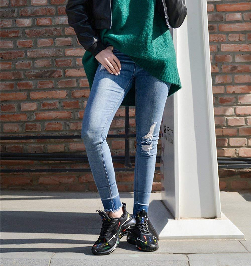 Oudan Die Art Und Weise Weise Weise Turnschuhe Der Frauen Der Frauen Beschuht Im Freien Zufällige Schuhe Kreative Gemalte Helle Schuhe (Farbe   Schwarz Größe   45EU) e55454