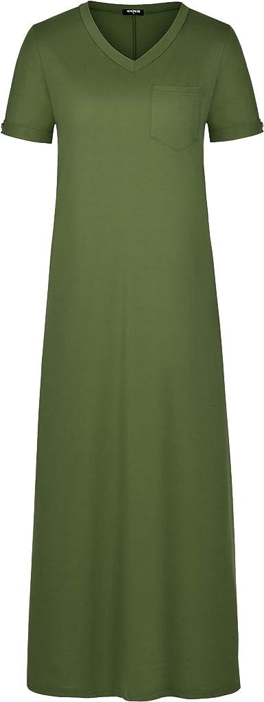 herdress Women's Short Sleeve T Shirt Dress V Neck Split Maxi Dresses with Pockets