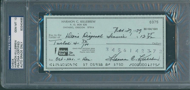 Harmon Killebrew Autographed Signed Check PSA/DNA Gem Mint 10 / November 29Th 1979