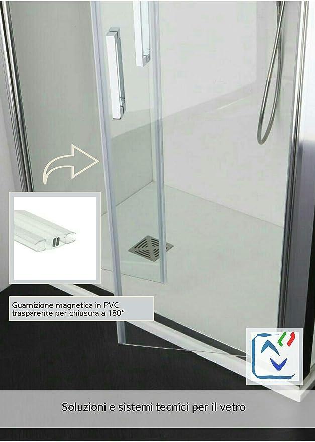 coppia Guarnizione box doccia trasparente magnetica vetro 8mm 2,20 mt