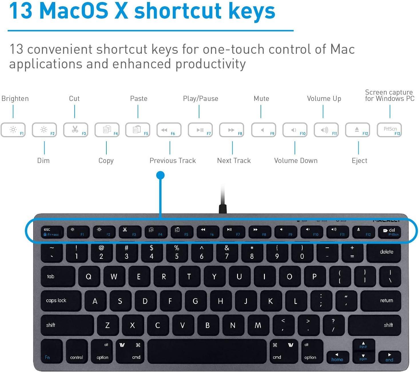 Macally Slim - Mini teclado compacto con cable USB para Apple Mac, iMac, MacBook Pro/Air, Mac Mini, Windows PC de sobremesa, portátil (gris espacial): Amazon.es: Electrónica