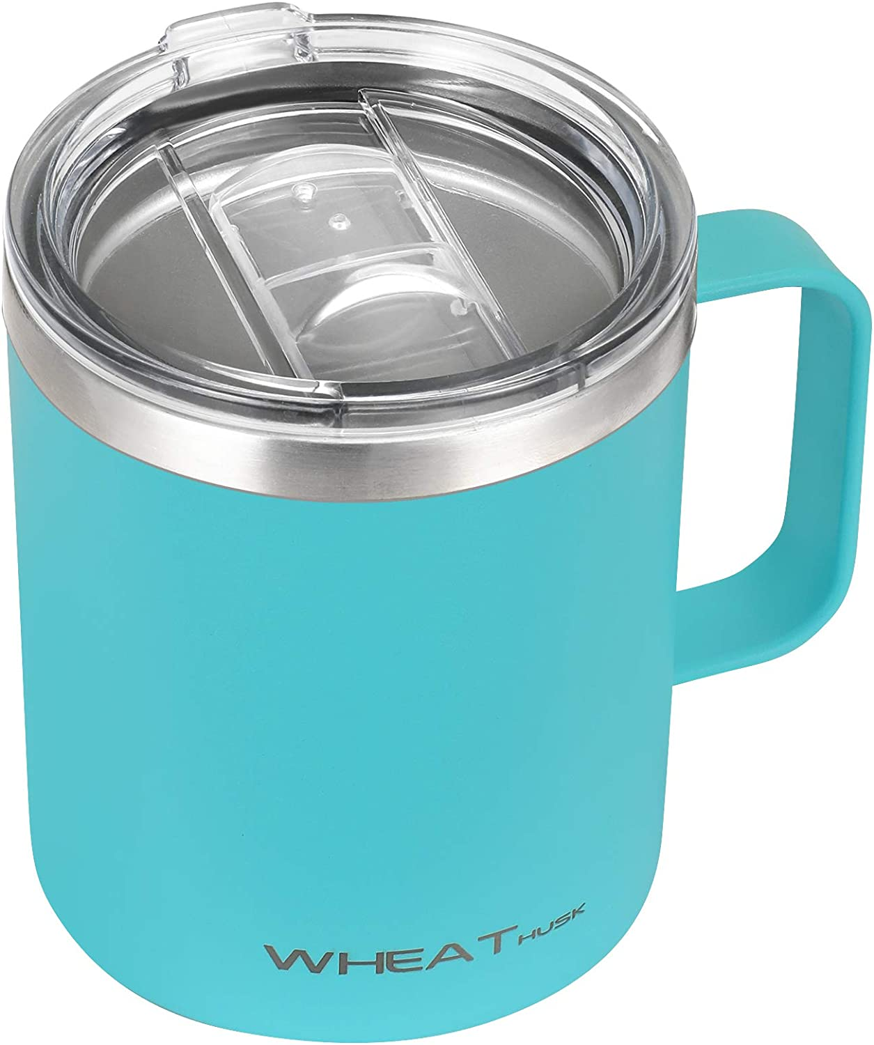 Stainless Steel Coffee Mug 12 oz, Vacuum Insulated Tumbler with Handle, Double Wall Tumbler Cup with Sliding Lid Camping Tea Flask for Hot & Cold Drinks (Teal, 12oz-1 Pack)