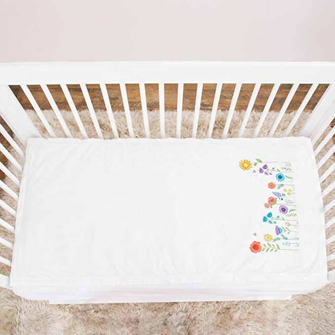 QuickZip - Juego de sábanas para cuna blanco Sprouting Garden: Amazon.es: Bebé