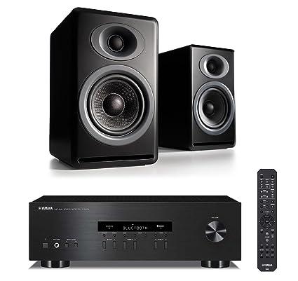 Audioengine P4 Pair Of 2 Way Passive Bookshelf Speakers With Yamaha RS202BL Bluetooth Stereo Receiver